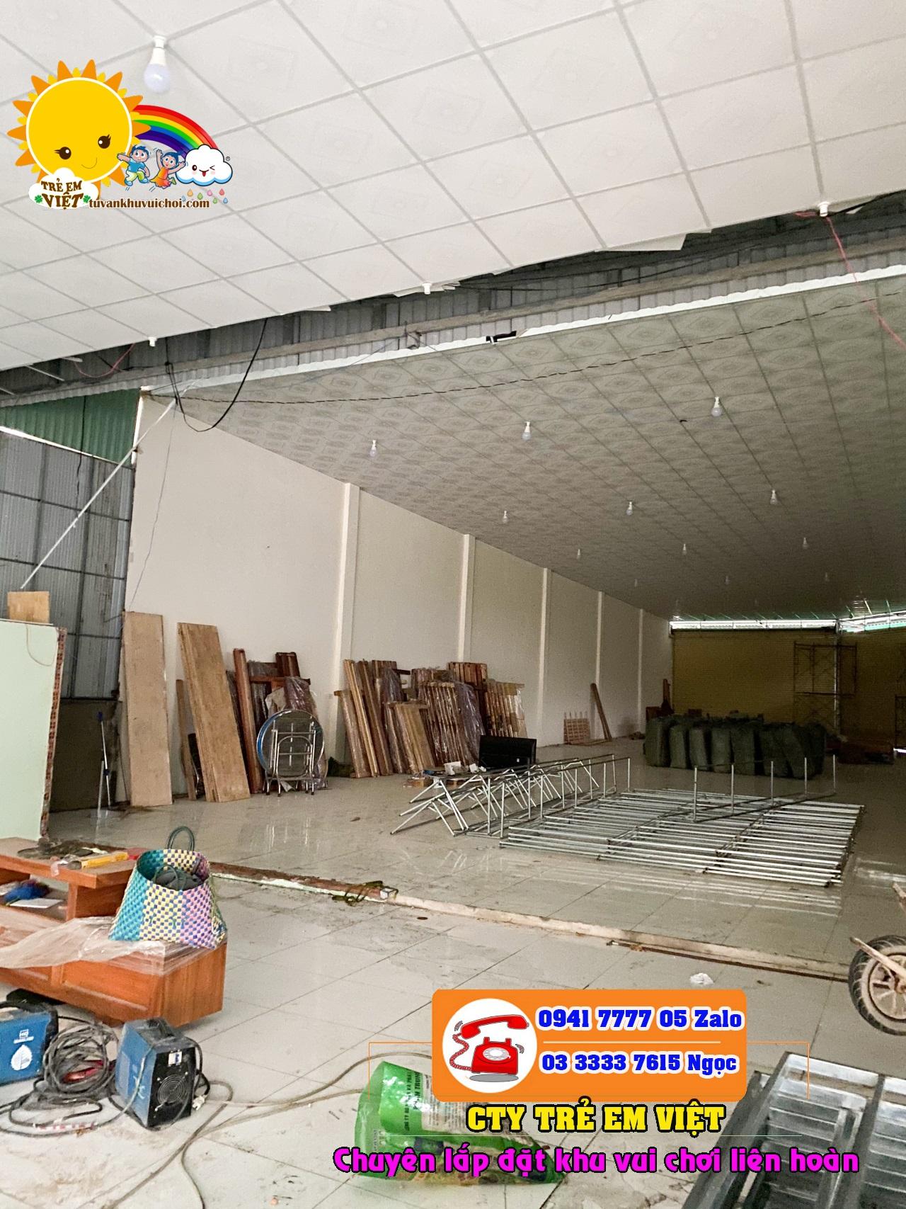 Mặt bằng xây dựng khu vui chơi trẻ em trong nhà với độ cao trần 4.8m.